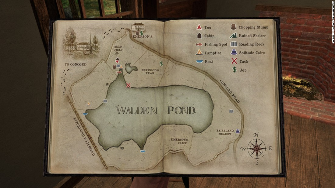 The map in Thoreau's video game journal has GPS. It marks where you are in relation to fixed objects.