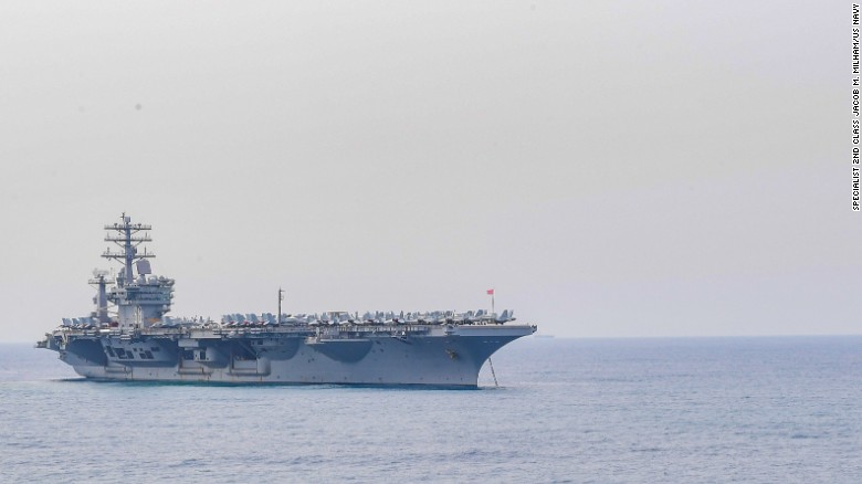 The aircraft carrier USS Nimitz (CVN 68) anchors off the coast of India in preparation for Malabar 2017.