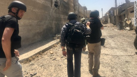 CNN team inside the old city of Raqqa. First TV journalist inside.