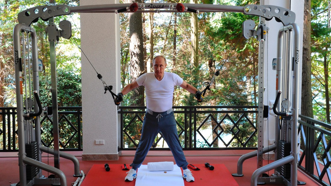 Putin exercises at a Black Sea resort in Sochi in August 2016.