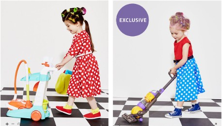 The images included girls in hair rollers pushing a cleaning trolley and vacuum.