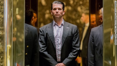 Donald Trump Jr., son of U.S. President-elect Donal Trump, stands in an elevator at Trump Tower in New York, U.S., on Wednesday, Jan. 18, 2017. President-elect Donald Trump has made job creation one of his signature issues, setting off a flurry of corporate pledges to hire more workers. Photographer: Albin Lohr-Jones/Pool via Bloomberg