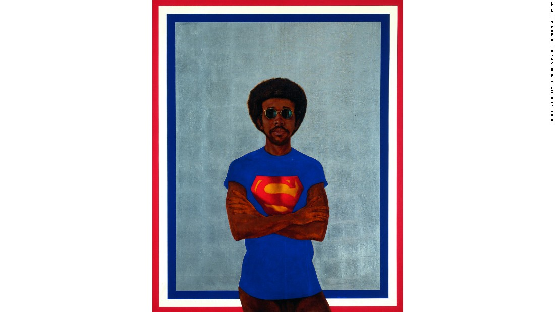 """Icon for My Man Superman (Superman Never Saved any Black People -- Bobby Seale)"" (1969) by Barkley L. Hendricks"
