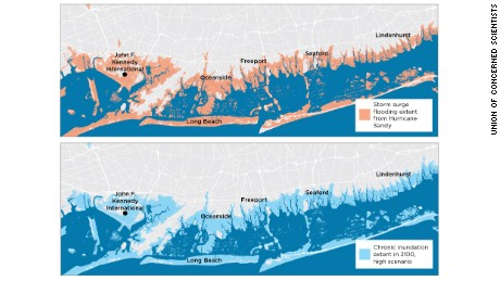 Hurricane Sandy caused widespread flooding and devastation along the southern shore of Long Island, in 2012 (top). By 2100 in the high scenario, a similar flood extent occurs every other week on average (bottom).