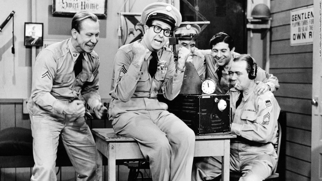 "With Phil Silvers, center, as the scheming Master Sgt. Ernest G. Bilko, ""The Phil Silvers Show"" influenced latter-day comedians such as Robin Williams and Larry David. ""My favorite show of all time was Bilko,"" David once told <a href=""http://www.newyorker.com/magazine/2004/01/19/angry-middle-aged-man"" target=""_blank"">The New Yorker.</a> ""I just thought that was head and shoulders above any other show I had seen."""