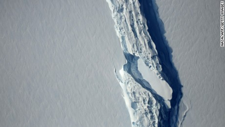 "(FILES) This file photo taken on November 11, 2016 shows an image obtained from NASA showing the Antarctic Peninsula's rift in the Larsen C ice shelf from NASA's IceBridge mission Digital Mapping System.  A trillion-tonne iceberg, one of the biggest on record, has snapped off the West Antarctic ice shelf, said scientists on July 12, 2017, who have monitored the growing crack for months. ""The calving occurred sometime between Monday, July 10 and Wednesday, July 12, when a 5,800-square kilometre (2,200-square mile) section of Larsen C (ice shelf) finally broke away,"" the Swansea University said in a statement.   / AFP PHOTO / NASA's Goddard Space Flight Center / HO / RESTRICTED TO EDITORIAL USE - MANDATORY CREDIT AFP PHOTO /NASA's Goddard Space Flight Center  - NO MARKETING - NO ADVERTISING CAMPAIGNS - DISTRIBUTED AS A SERVICE TO CLIENTS  HO/AFP/Getty Images"