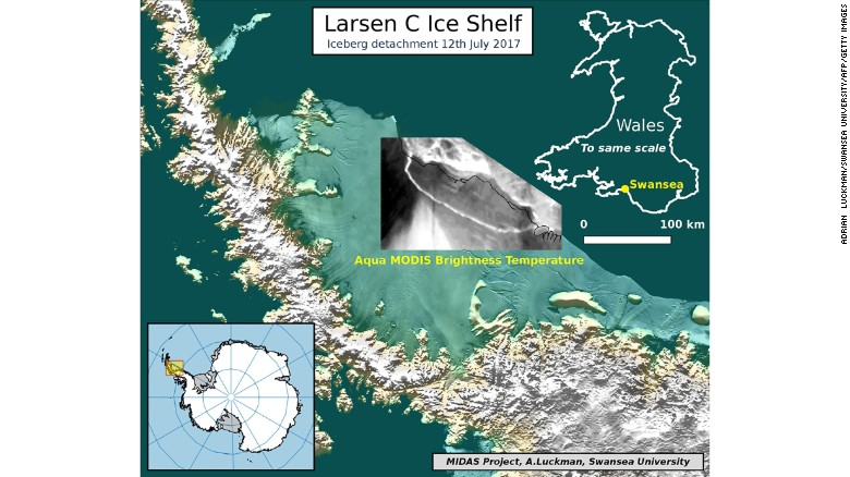 Map showing iceberg detachment based on data from NASA dated July 12