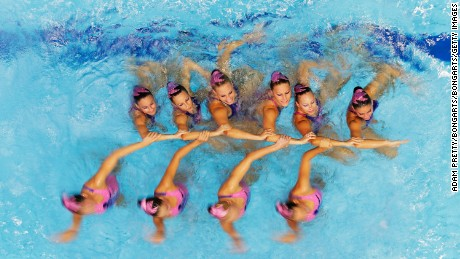 Hungary perform during the Women's Free Combination Synchronised Swimming final at Berlin's Europa-Sportpark in August 2014.