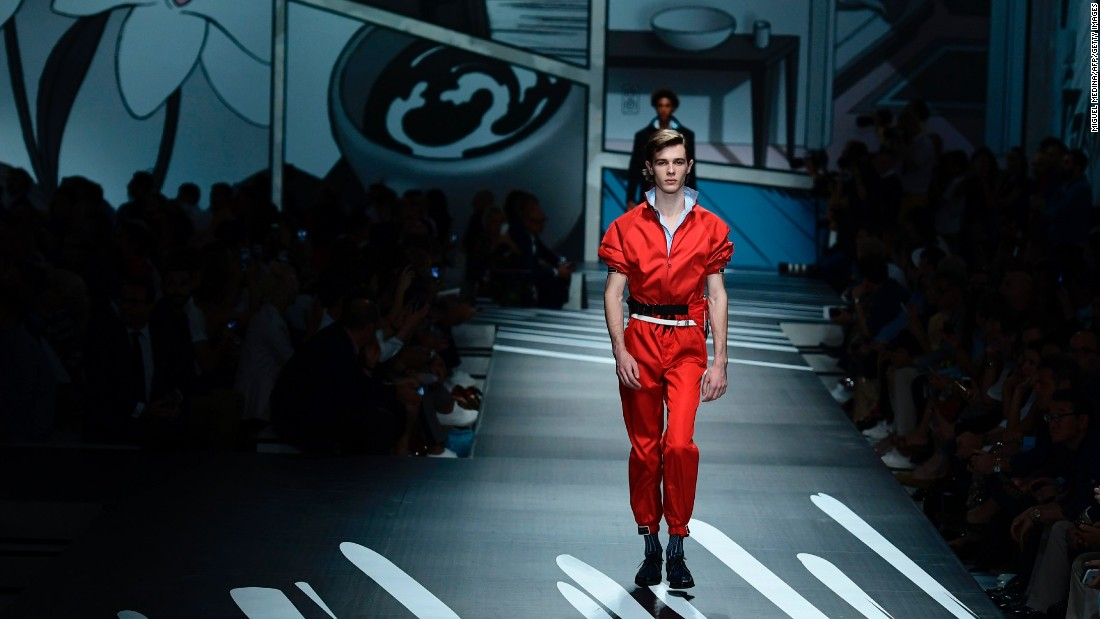 Prada collaborated with two graphic artists to create the comic strips displayed over the show venue.