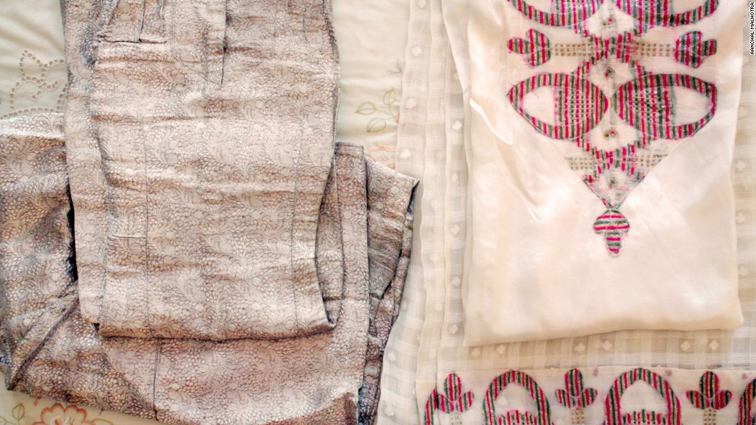 Ornate gold and silver threads that have been in Sitara Fiaz Ali's family for generations. Since accompanying the family as they migrated, the threads have been used to sew new clothes.