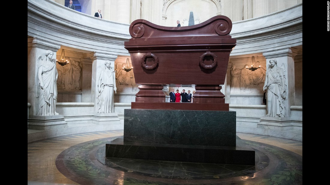 The Trumps and the Macrons tour Napoleon Bonaparte's tomb on July 13.