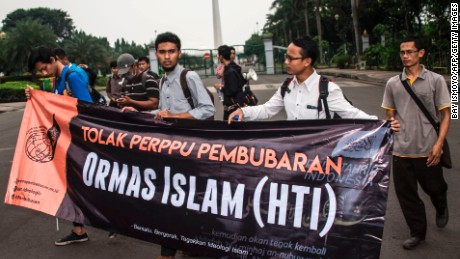 Muslim student activists take part in an anti-government rally in Jakarta on July 12.
