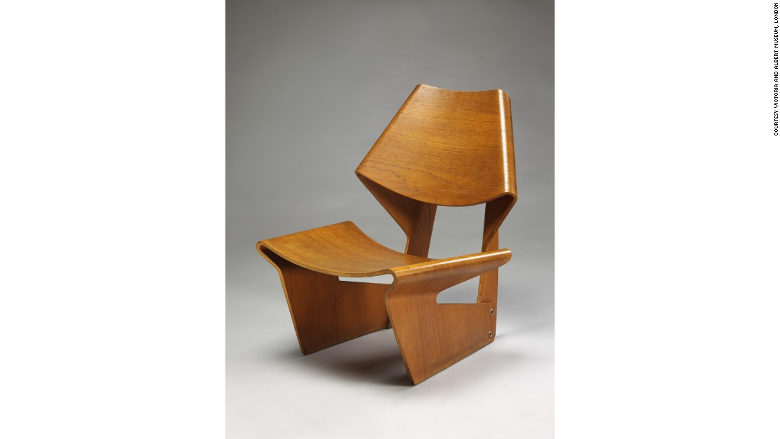 Danish designer Grete Jalk was inspired the Eameses and Alvar Aalto in her work. This molded plywood chair was formed out of just two conjoined pieces.