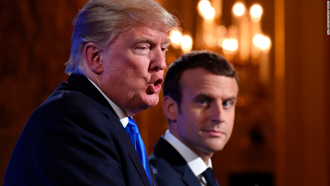 "Trump and Macron <a href=""http://www.cnn.com/2017/07/13/politics/trump-paris-press-conference/index.html"" target=""_blank"">hold a news conference</a> after meeting at the Elysee Palace in Paris on July 13."