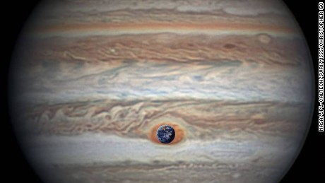 NASA configured this comparison of its own image of Earth with an image of Jupiter taken by astronomer Christopher Go.