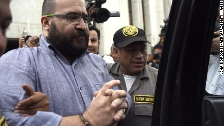 Mexico's Veracruz state governor, Javier Duarte, wanted on corruption charges by the U.S. authorities, is seen after a hearing regarding his extradition request at the Supreme Court in Guatemala City on July 4, 2017.  / AFP PHOTO / JOHAN ORDONEZ        (Photo credit should read JOHAN ORDONEZ/AFP/Getty Images)