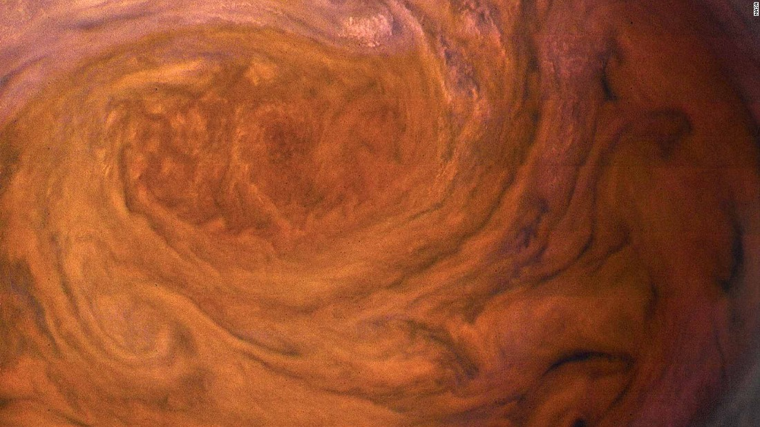 Jupiter's Great Red Spot is a storm with a 10,000-mile-wide cluster of clouds, July 2017.