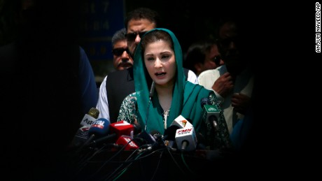 Maryam Nawaz Sharif, daughter of Pakistani prime minister Nawaz Sharif, talks to media following an appearance before the Joint Investigation Team, in Islamabad, Pakistan, earlier in July.