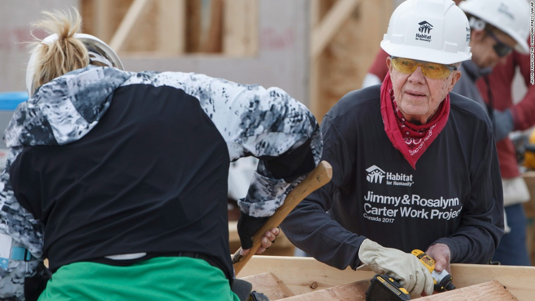 "Carter helps build stairs for a home during a Habitat for Humanity project in Edmonton, Alberta, in July 2017. A couple days later, while working on another house in Canada, <a href=""http://www.cnn.com/2017/07/13/politics/jimmy-carter-dehydration-habitat-for-humanity/index.html"" target=""_blank"">Carter became dehydrated</a> and was taken to a hospital as a precaution."