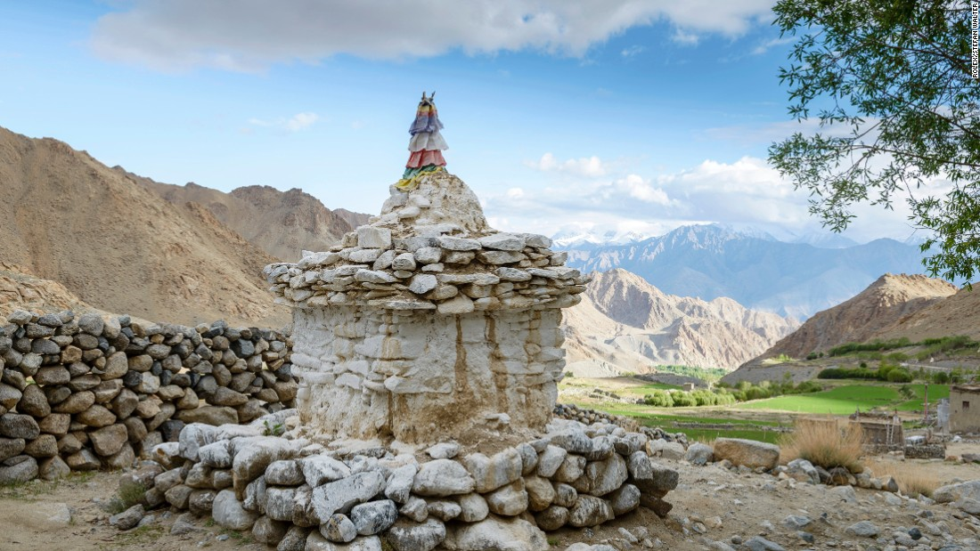 A traditional stone stupa in the Phyang valley in Ladakh.