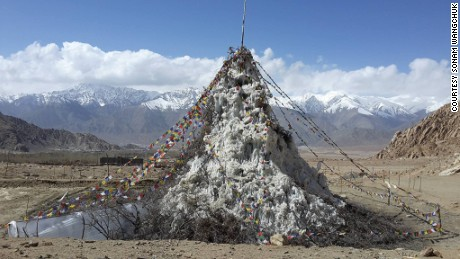 The first ice stupa prototype.