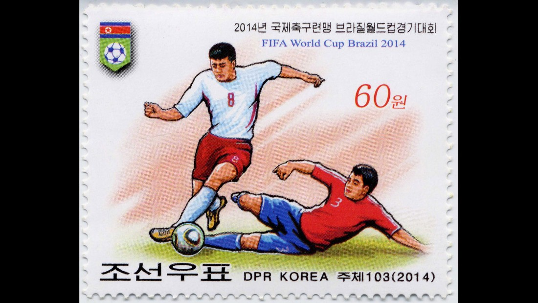 Despite failing to qualify for the 2014 World Cup, North Korea released this commemorative stamp.