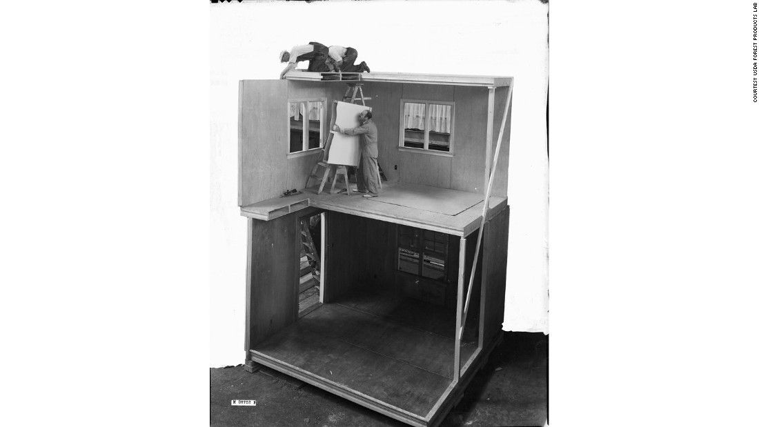 This full-scale house was built at the 1937 Madison Home Show to demonstrate the American Forest Product Laboratory's plywood prefabrication system.