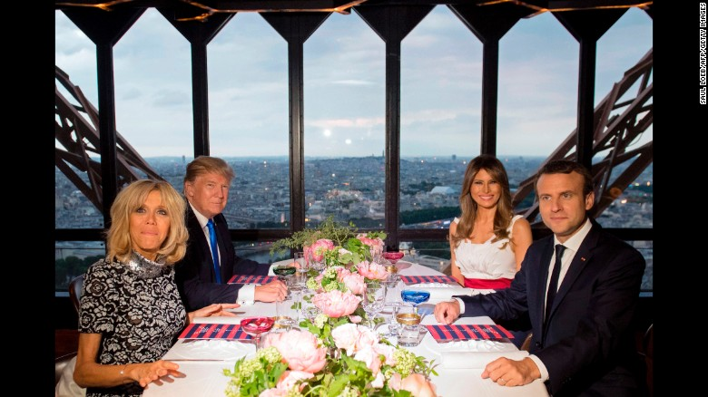 "From left, French first lady Brigitte Macron, US President Donald Trump, US first lady Melania Trump and French President Emmanuel Macron attend a dinner at the Eiffel Tower in Paris on Thursday, July 13. <a href=""http://www.cnn.com/2017/07/13/politics/trump-paris/index.html"" target=""_blank"">Macron invited the Trumps to France</a> for the country's Bastille Day celebrations."