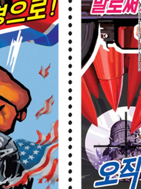 "Left: This postage stamp distributed by the North Korean government to mark ""anti-U.S. leading forces month"" held between June 25-July 27, 2017, says ""against the strong measure with (our) stronger measure"". (Korean Central News Agency/Korea News Service via AP) Right: This postage stamp distributed by the North Korean government to mark ""anti-U.S. leading forces month"" held between June 25-July 27, 2017, says ""not by words, entirely by weapon (gun)."" (Korean Central News Agency/Korea News Service via AP)"