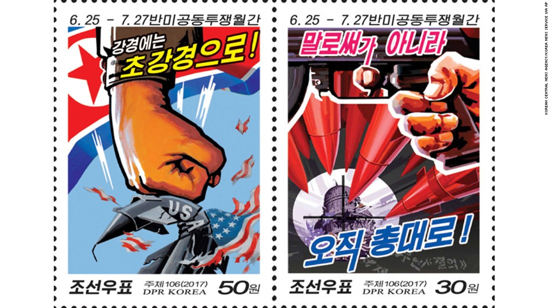 Stamp depicting warheads pointed at Capitol Hill features in the latest designs from North Korea