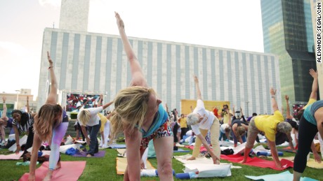 Between ceremonies and talks, under the guidance of yoga experts and spiritual leaders, New Yorkers reached for balance.