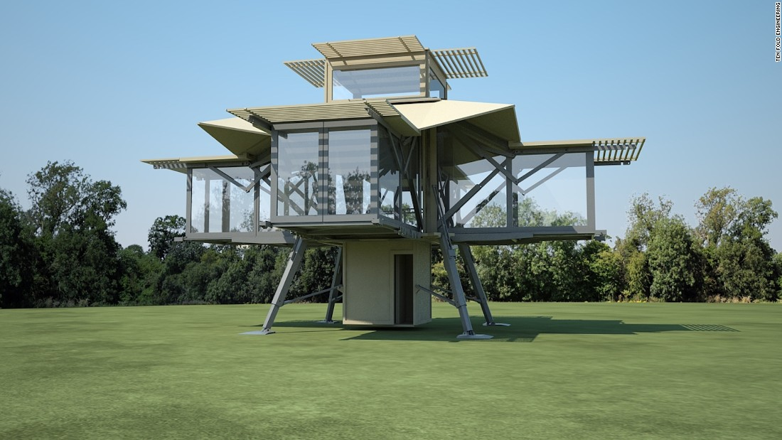 "Dubbed the Tree House, this modular home -- like other Ten Fold designs -- is ready to be lived in. ""The secret is all about the seemingly uninteresting levers that allow really big things to go out safely, quickly, reliably and with really no power,"" says David Martyn, founder of Ten Fold."