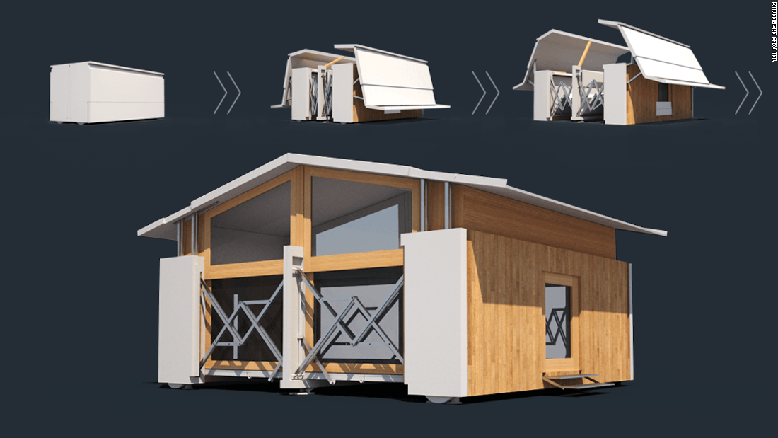 These structures can be used for temporary businesses, to provide schools with extra space, or as mobile homes.