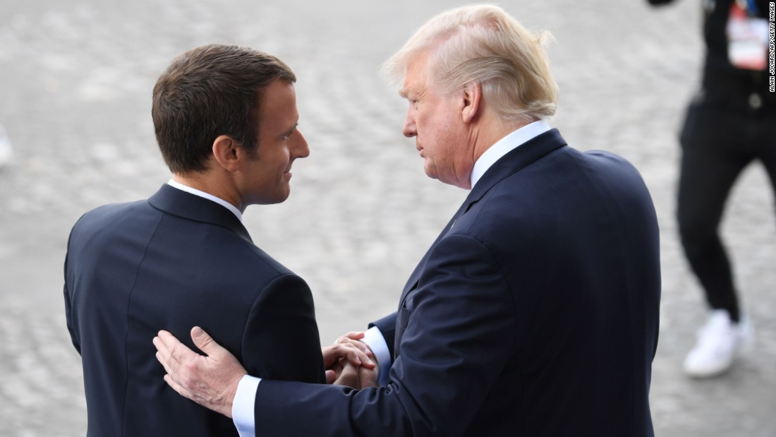 Macron bids farewell to Trump following the Bastille Day military parade on the Champs-Elysees in Paris. Macron has sought to act as Trump's bridge to Europe, his advisers have said, as other leaders there have isolated the United States on key issues.