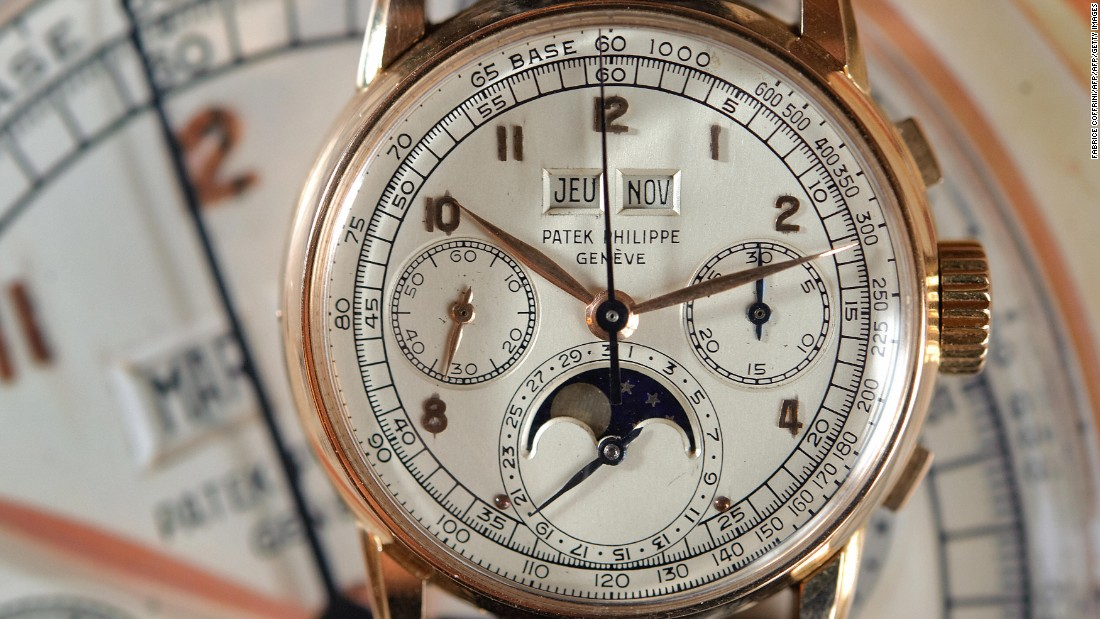 This perpetual calendar chronograph wristwatch with moon phases, which sold for $1.4 million at a Sotheby's auction in November 2008, is one of few known pink gold watches made by Patek Philippe.