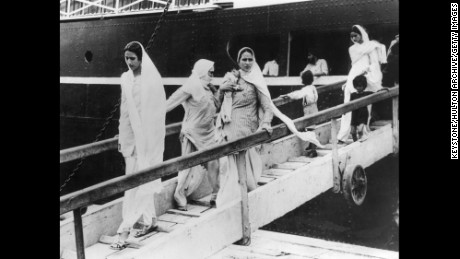 9th October 1947:  Hindu and Sikh women and children arriving at Bombay on the British-India liner dOwarkaf after their flight from Pakistan.  (Photo by Keystone/Getty Images)