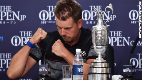 TROON, SCOTLAND - JULY 17:  Henrik Stenson of Sweden attends a press conference alongside the Claret Jug after victory in the final round on day four of the 145th Open Championship at Royal Troon on July 17, 2016 in Troon, Scotland. Henrik Stenson of Sweden finished 20 under for the tournament to claim the Open Championship.  (Photo by Stuart Franklin/Getty Images)