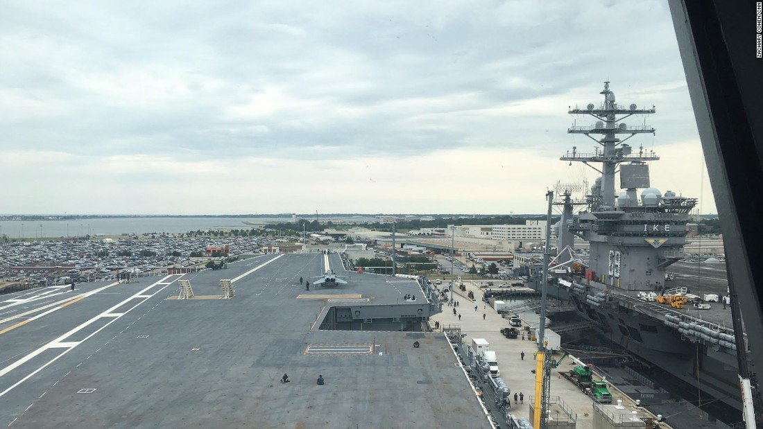 The USS Gerald Ford's flight deck view from the carrier's from the bridge.