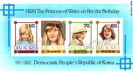 A stamp depicting Princess Diana.