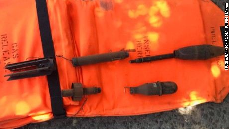 Police photo of disassembled WWII-era rocket propelled grenades that were delivered to Sunnyvale Police headquarters