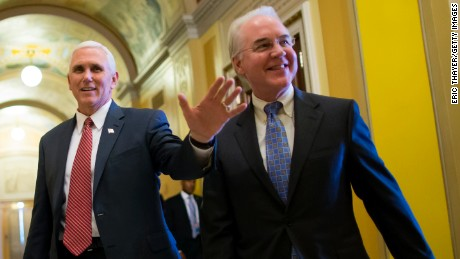 Vice President Mike Pence and Secretary of Health and Human Services Tom Price on Capitol Hill May 3, 2017 in Washington, DC.