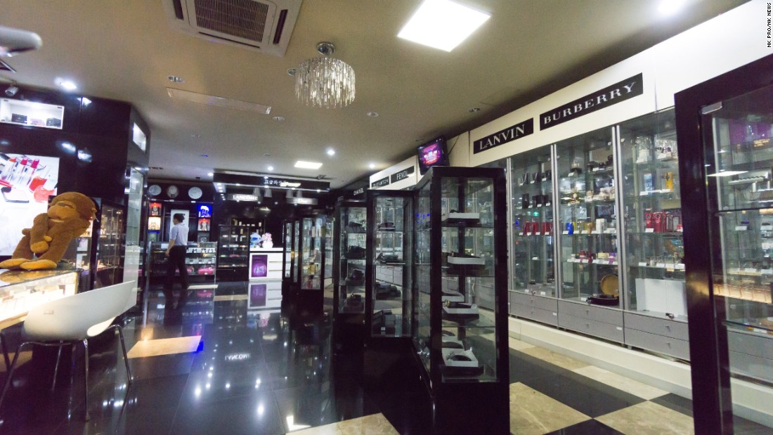 Luxury goods can be seen on sale at one North Korean store in this photo supplied by NK Pro/NK News.