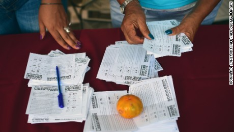 Volunteers count the ballots during an opposition-organized vote to measure public support for Venezuelan President Nicolas Maduro's plan to rewrite the constitution in Caracas on July 16, 2017. Authorities have refused to greenlight the vote that has been presented as an act of civil disobedience and supporters of Maduro are boycotting it. Protests against Maduro since April 1 have brought thousands to the streets demanding elections, but has also left 96 people dead, according to an official toll.  / AFP PHOTO / RONALDO SCHEMIDT        (Photo credit should read RONALDO SCHEMIDT/AFP/Getty Images)