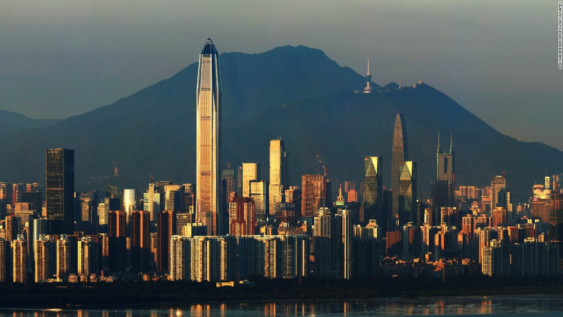 The Ping An Finance Center towers over Shenzhen's densely-packed cityscape, which is largely sandwiched between mountains and the Hong Kong border.
