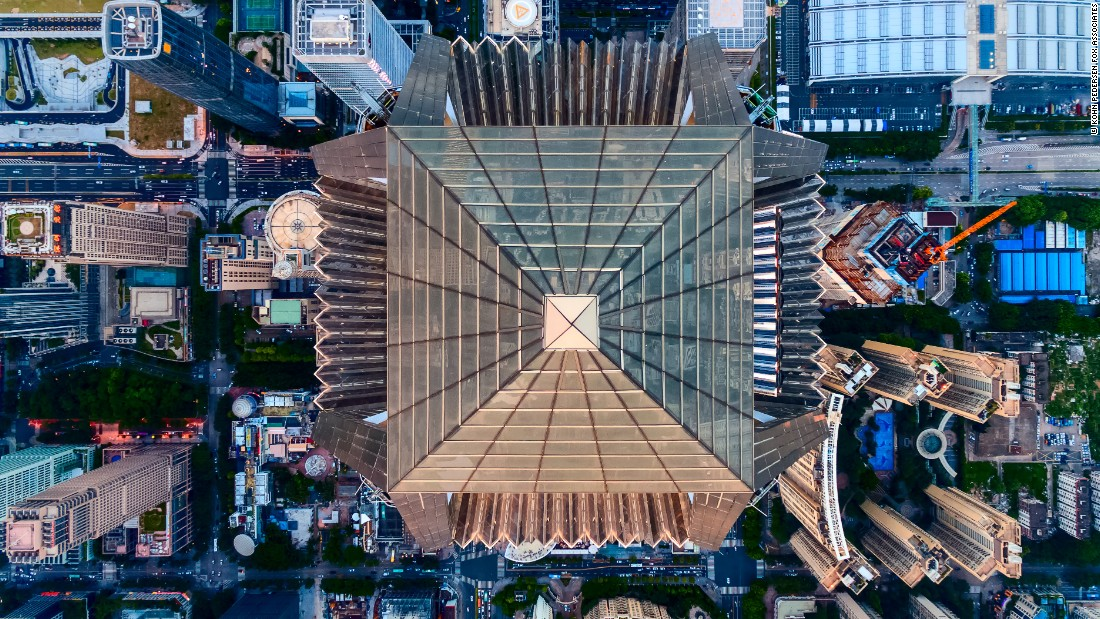 The Ping An Finance Center rises 555 meters, or 1,821 feet.