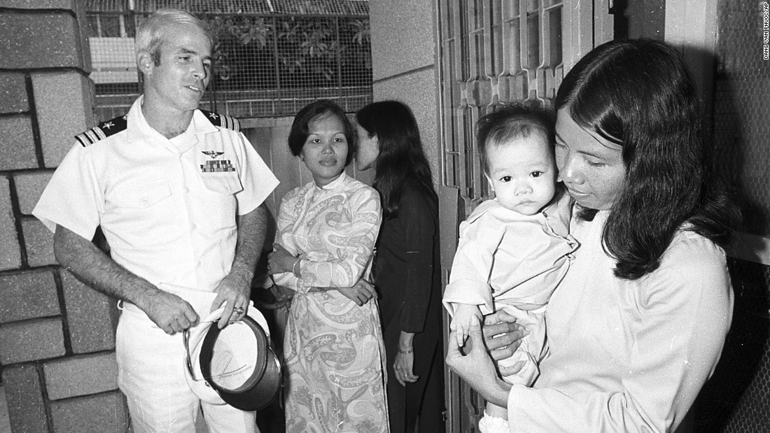 McCain visits the Holt orphanage in Saigon, Vietnam, on October 30, 1974, as a guest of the South Vietnamese government. The institution cares for many youngsters fathered by American GIs.