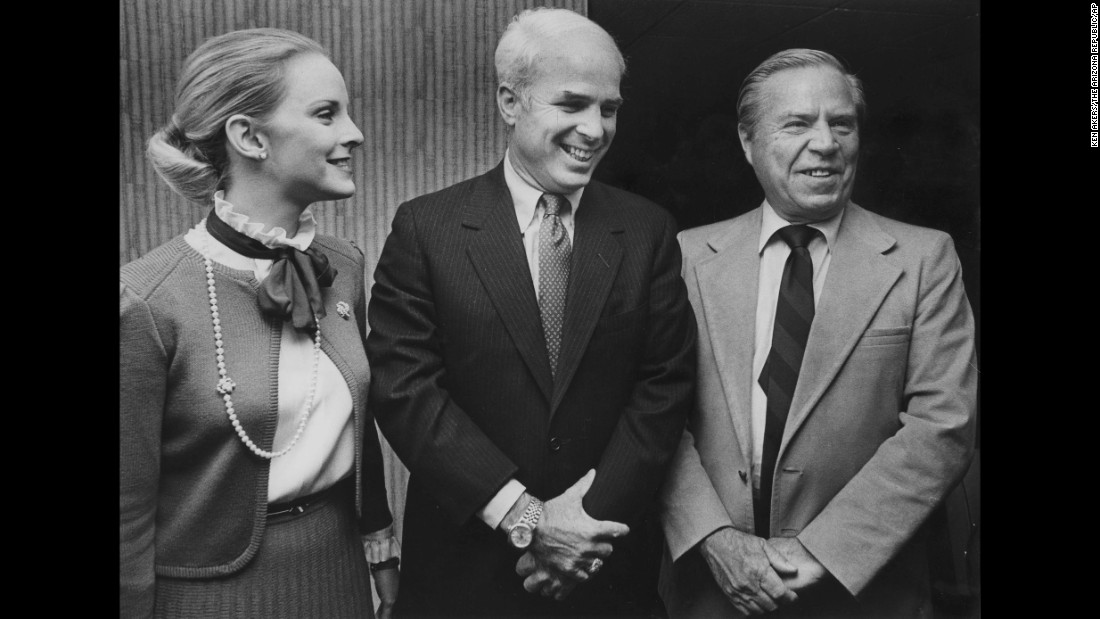 McCain, center, and his wife, Cindy, pose with Republican Rep. John Rhodes of Arizona in Phoenix. McCain was elected to the House of Representatives from Arizona in 1982, the year after he retired from the Navy.