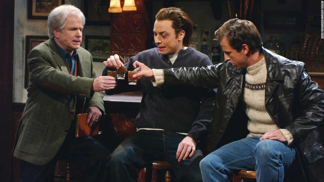 "McCain plays Frank McCourt, with Jimmy Fallon as Patrick Fitzwilliam and Seth Meyers as William Fitzpatrick, in a 2002 ""Top O' The Morning"" skit on ""Saturday Night Live."""