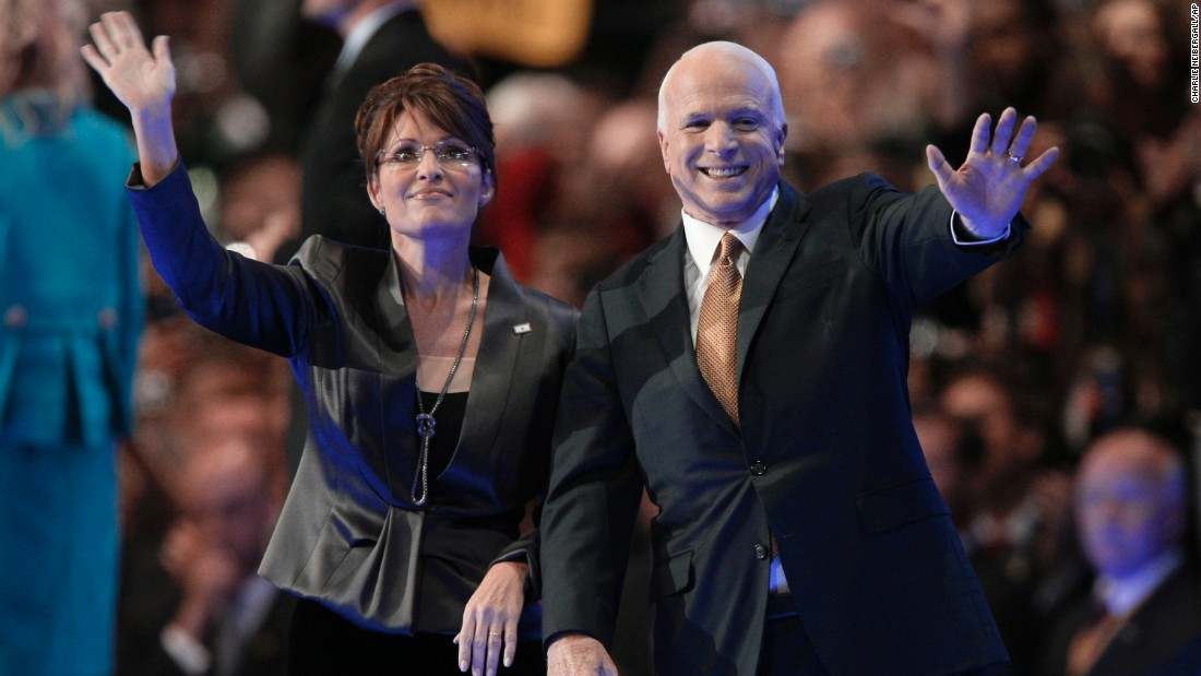 McCain and his running mate, Sarah Palin, wave to the crowed after his acceptance speech on September 4, 2008, at the Republican National Convention in St. Paul, Minnesota.