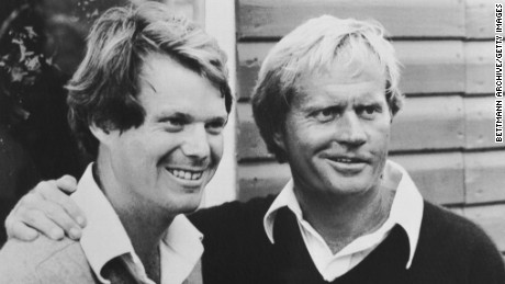 (Original Caption) Turnberry, Scotland: Jack Nicklaus (R) of the USA and Tom Watson (USA) joint leaders with a score of 203 after the 3rd round in the British Open golf championship here.